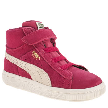 kids puma pink suede classic mid trainers
