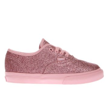 kids vans pink shimmer authentic trainers