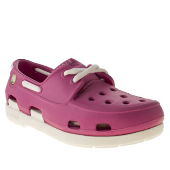 kids crocs pink beach line boat shoe trainers