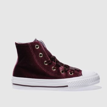Converse Burgundy All Star Velvet Hi Girls Junior