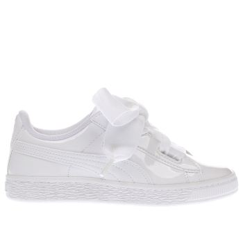 Puma White Basket Heart Patent Girls Junior