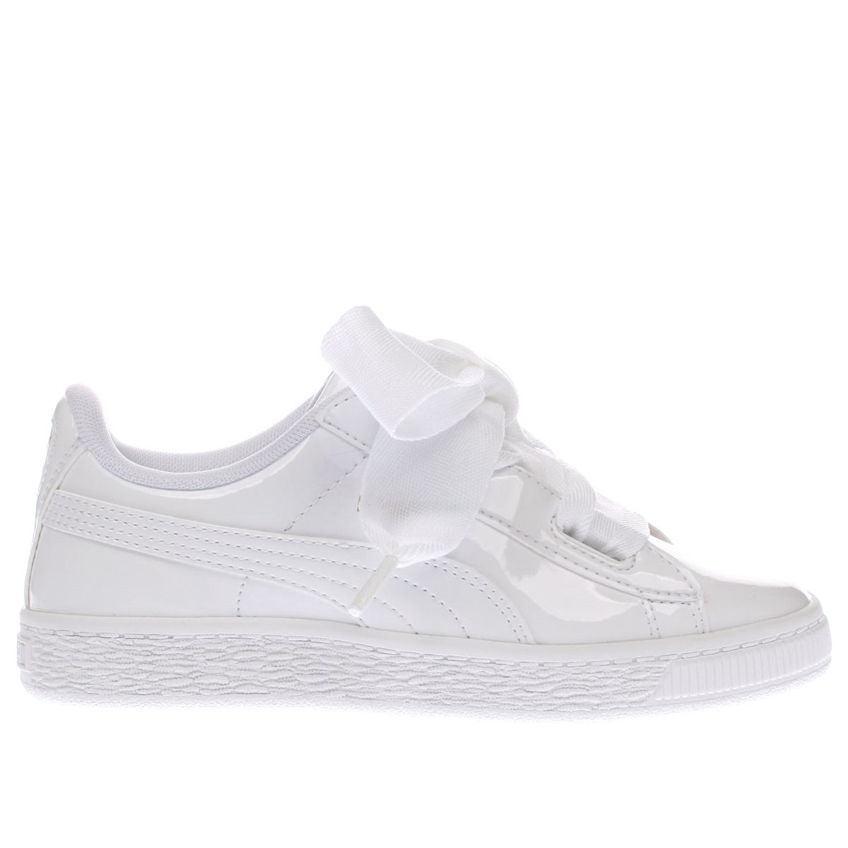 puma white basket heart patent Girls Junior Trainers
