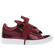 Puma Burgundy Basket Heart Glam Girls Junior