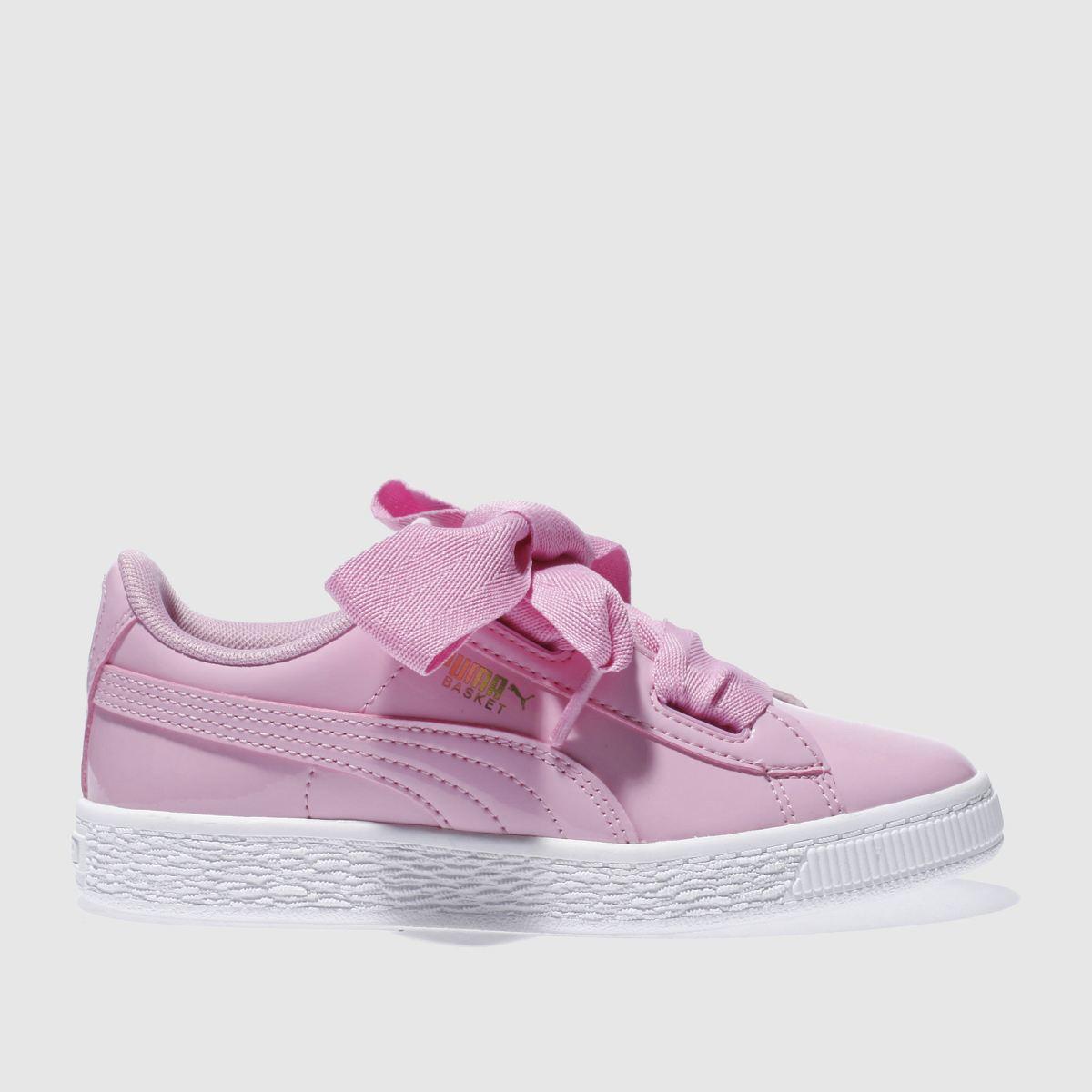 puma pink basket heart patent Girls Junior Trainers