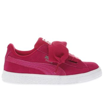 Puma Pink Basket Heart Snake Girls Junior