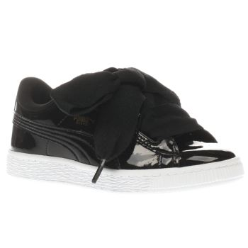 PUMA BLACK BASKET HEART PATENT GIRLS JUNIOR TRAINERS