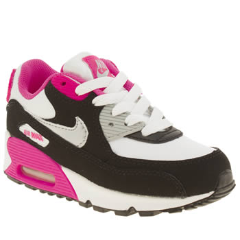 kids nike white & black air max 90 2007 trainers
