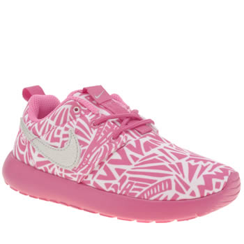 Girls Nike White & Pink Roshe Run Print Girls Junior