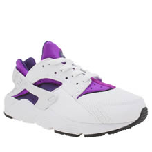 Nike White & Purple Huarache Run Girls Junior