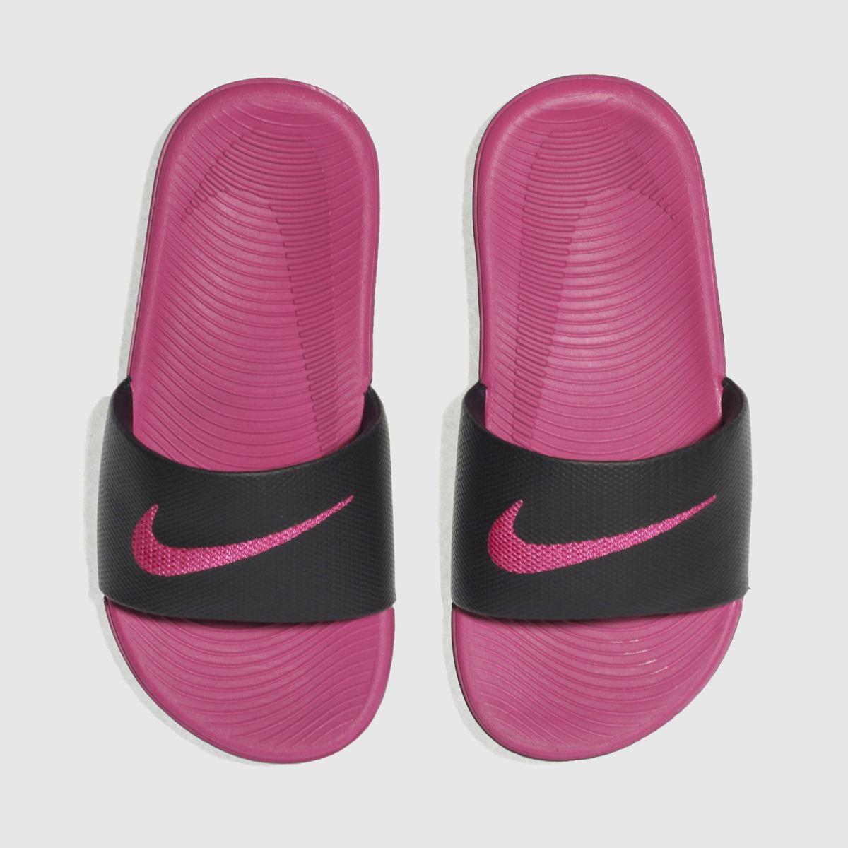 Nike Black & Pink Kawa Slide Girls Junior Sandals