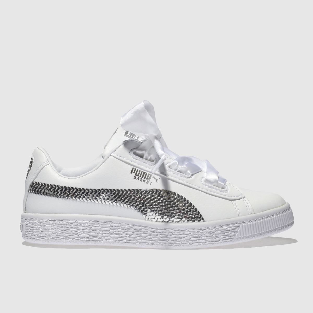 Puma White & Silver Basket Heart Bling Girls Junior Junior