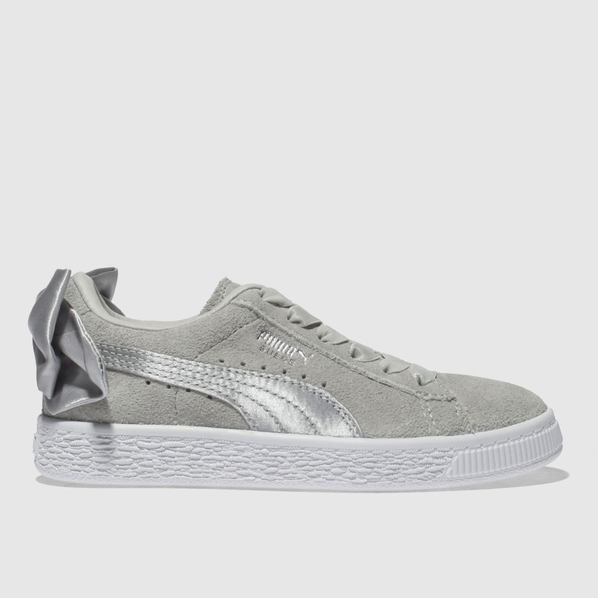 Puma Light Grey Suede Bow Trainers Junior
