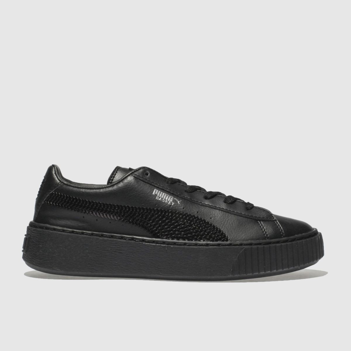 Puma Black Basket Platform Bling Trainers Junior