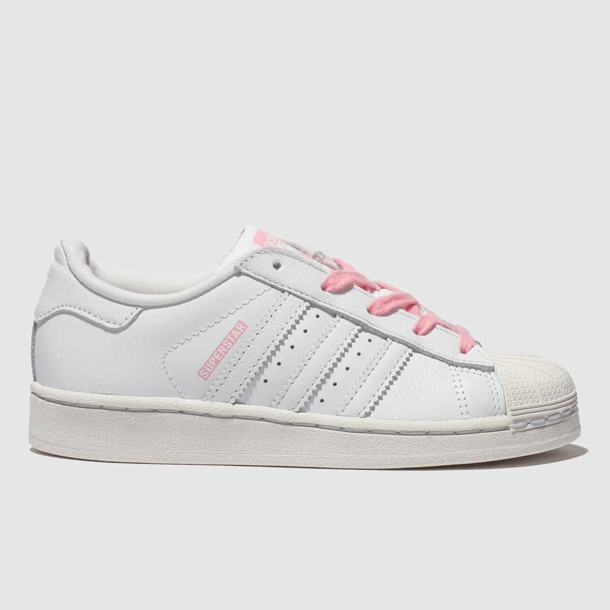 Adidas White & Pink Superstar Trainers Junior