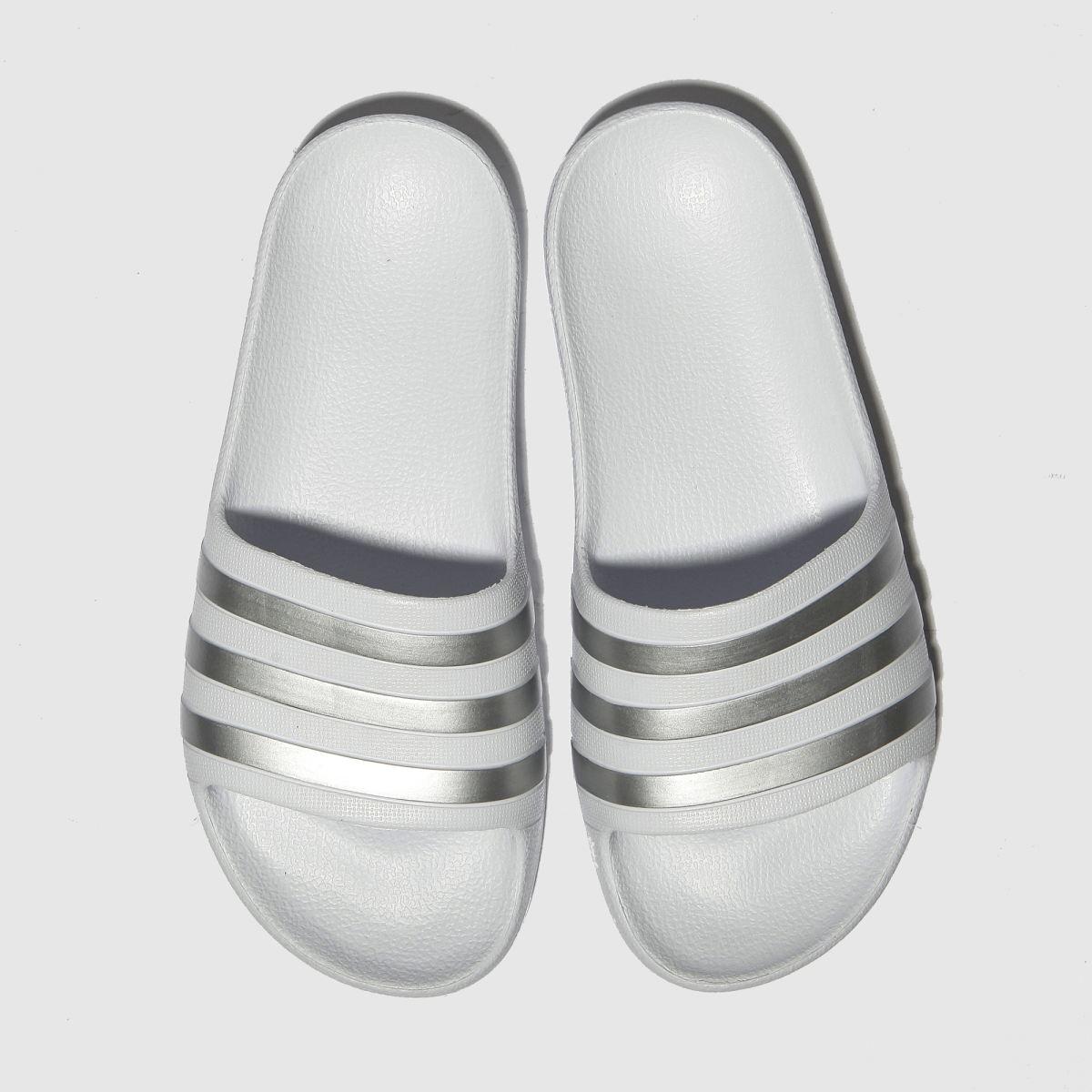 Adidas White & Silver Adilette Aqua Trainers Junior