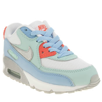 Girls Nike White & Pl Blue Air Max 90 Mesh Girls Junior