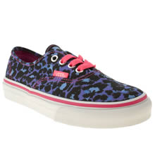 Junior Blue Vans Authentic Leopard