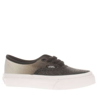 VANS BLACK & WHITE 2 TONE GLITTER AUTHENTIC GIRLS JUNIOR TRAINERS