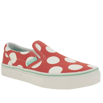 Vans White & Orange Classic Slip-on Girls Junior