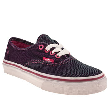 Girls Vans Purple Authentic Shimmer Girls Junior