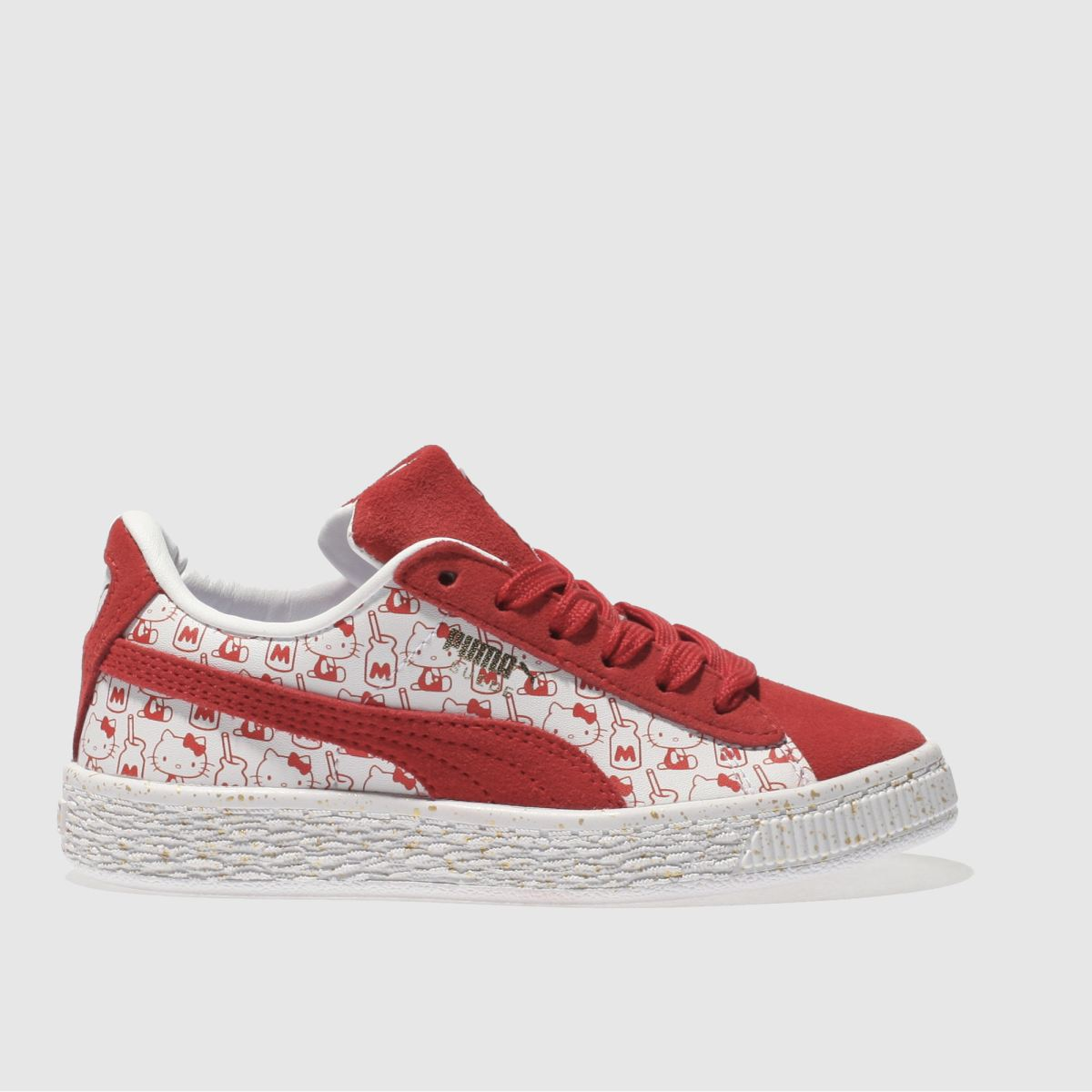 Puma White & Red Suede X Hello Kitty Girls Junior Trainers