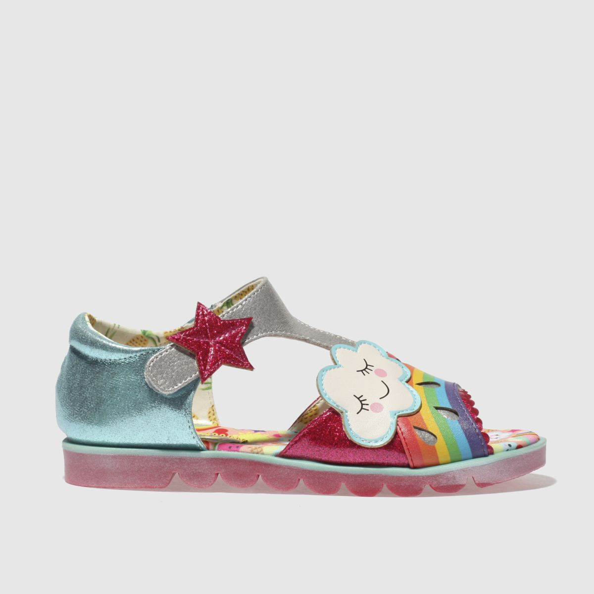 Irregular Choice Irregular Choice Blue & Pink Diamond Rain Girls Junior Sandals