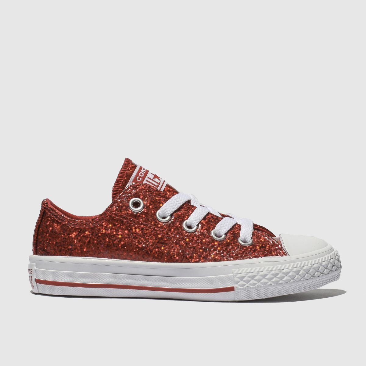 Converse Red All Star Ox Glitter Trainers Junior