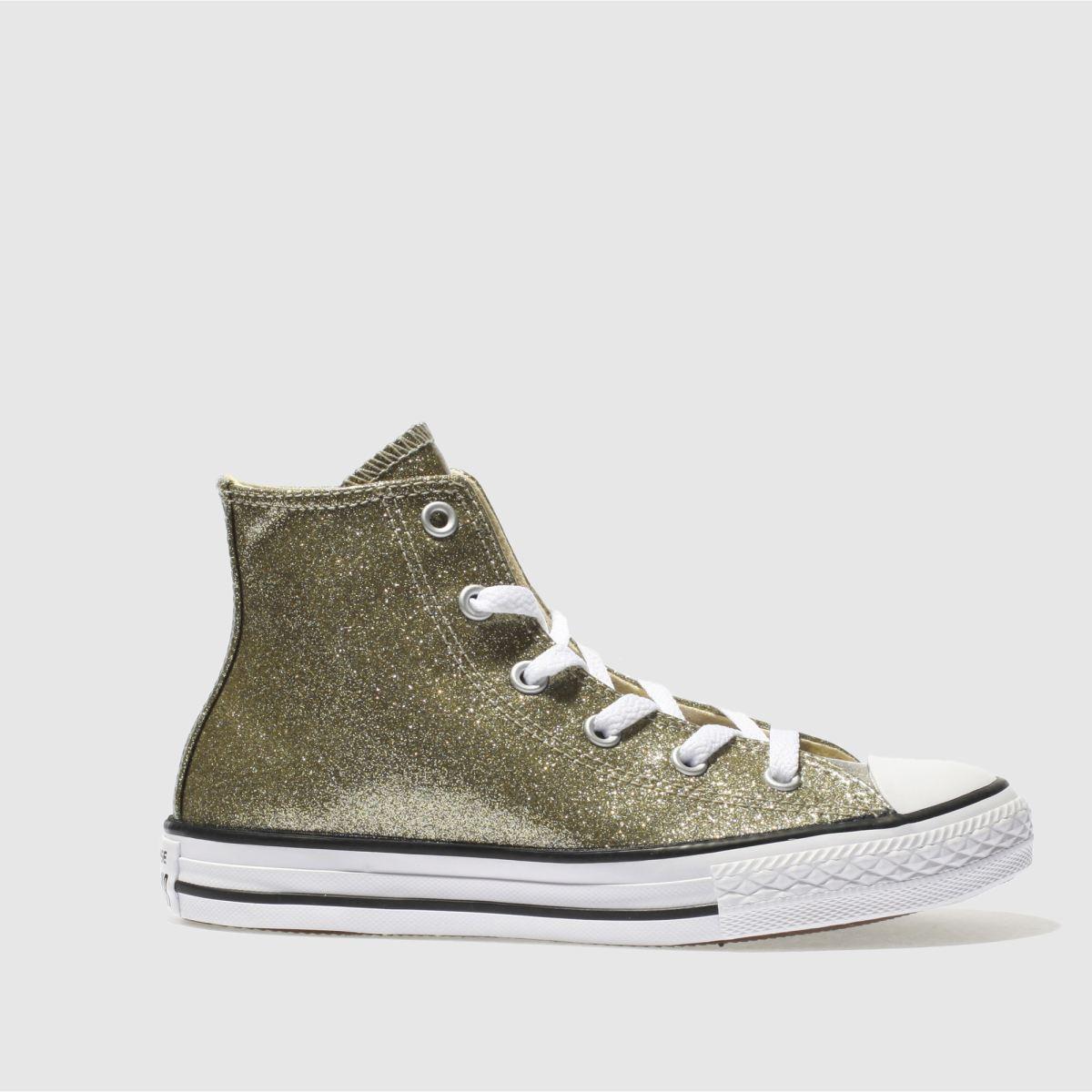 Converse Gold All Star Hi Glitter Girls Junior Trainers