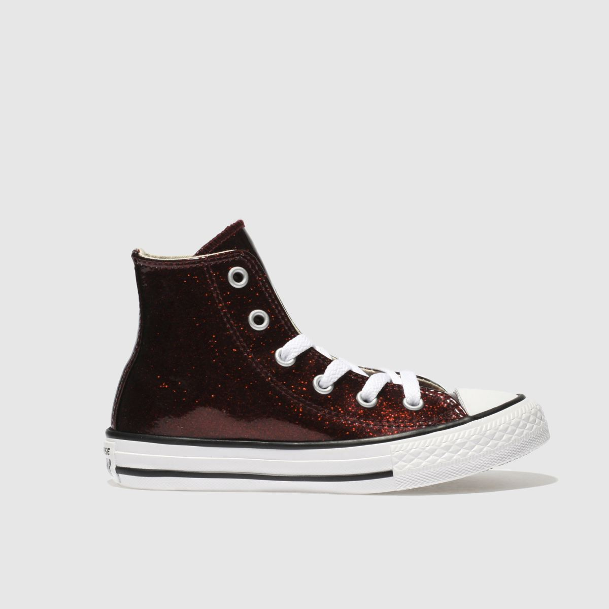 Converse Burgundy All Star Hi Glitter Trainers Junior