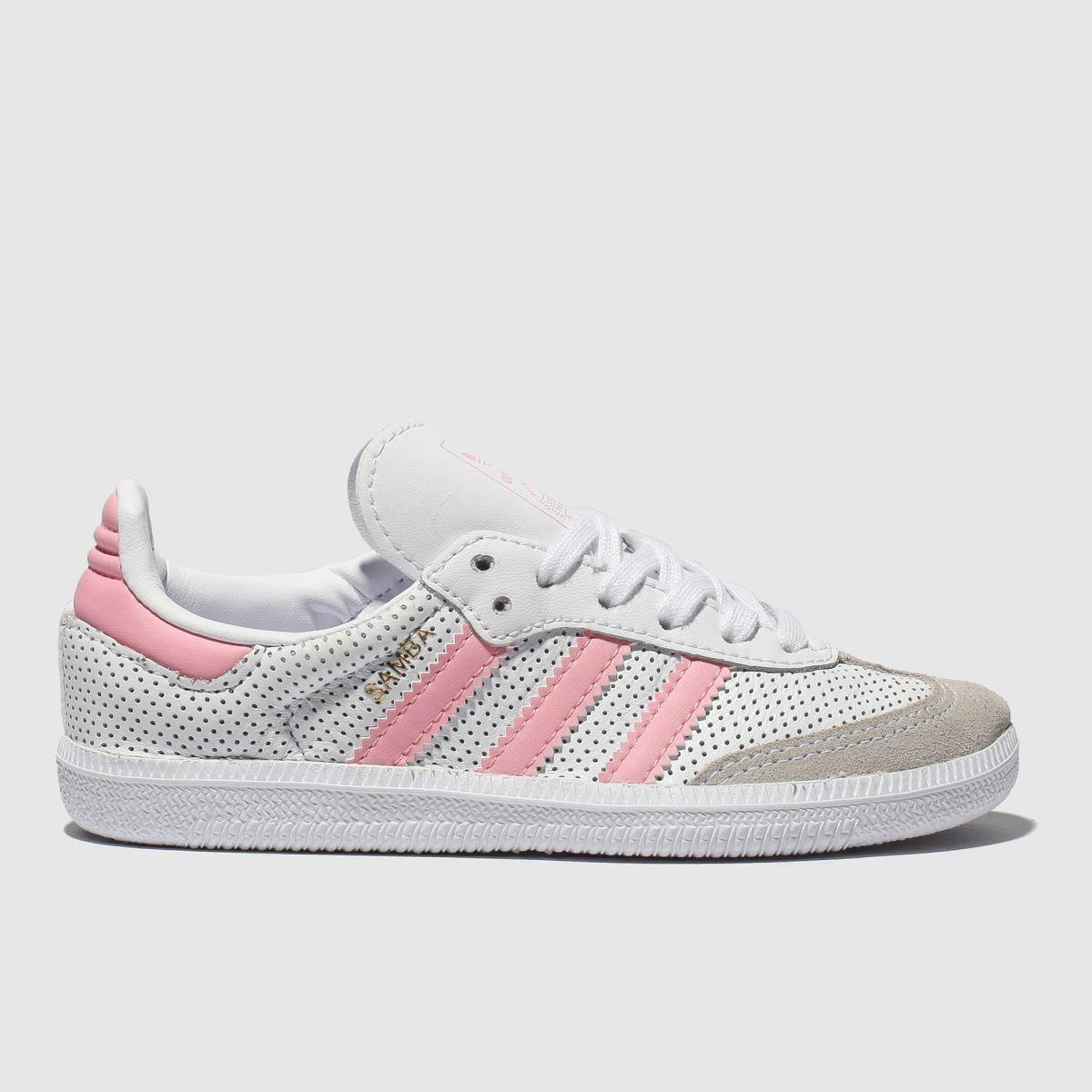 Adidas White & Pink Samba Trainers Junior