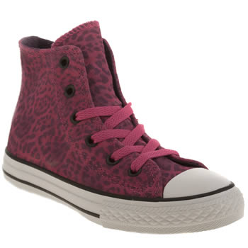 Girls Converse Pink All Star Animal Hi Girls Junior