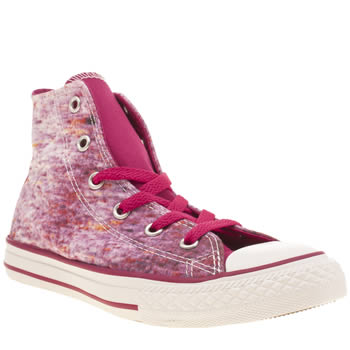 Girls Converse White & Pink All Star Hi Stream Print Girls Junior