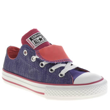 Girls Converse Purple All Star Shine Double Tongue Girls Junior