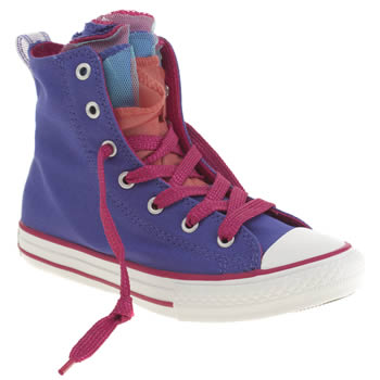 Girls Converse Purple All Star Shine Party Hi Girls Junior