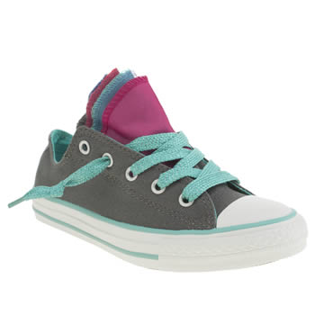 Converse Dark Grey All Star Shine Party Ox Girls Junior
