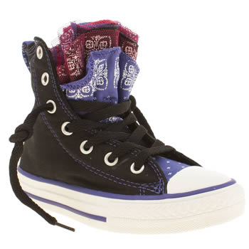 Girls Converse Black & Purple All Star Party Hi Girls Junior