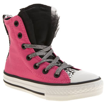 Converse Pink & Black All Star Party Hi Girls Junior