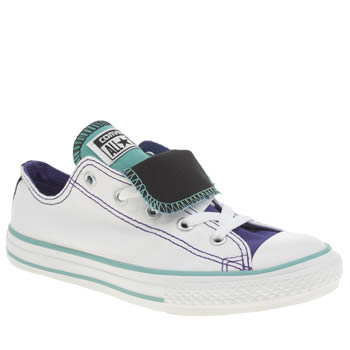 Girls Converse White & Purple All Star Double Tongue Girls Junior