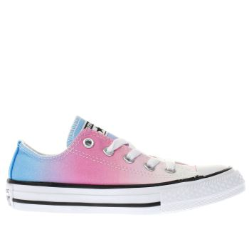 CONVERSE PINK ALL STAR OX SUNSET WASH GIRLS JUNIOR TRAINERS