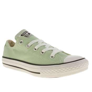 kids converse light green all star lo trainers