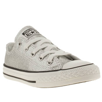 Converse Silver All Star Glitter Ox Girls Junior
