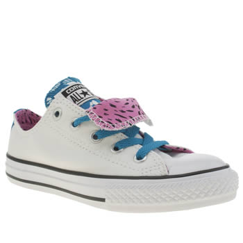 Converse White & Blue All Star Ox Double Tongue Girls Junior