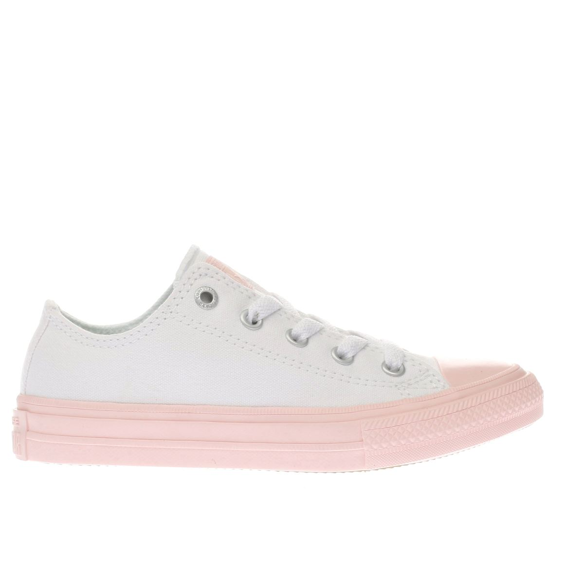 converse white & pink chuck taylor ii ox Girls Junior Trainers