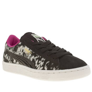 Girls Puma Black & White Suede Material 1 Girls Junior