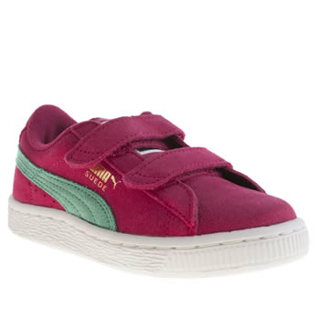 kids puma pink suede classic velcro trainers