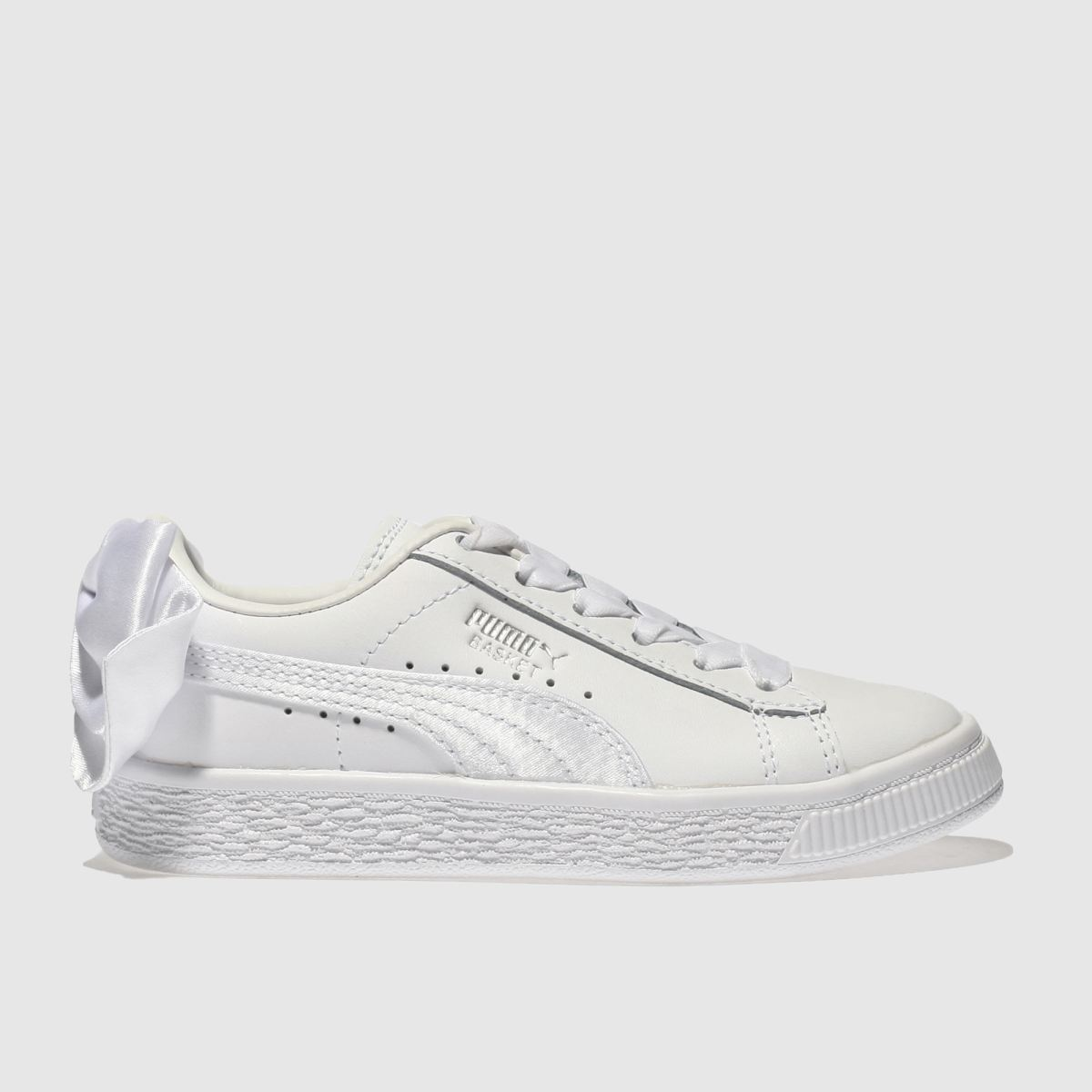 Puma White Basket Bow Girls Junior Junior