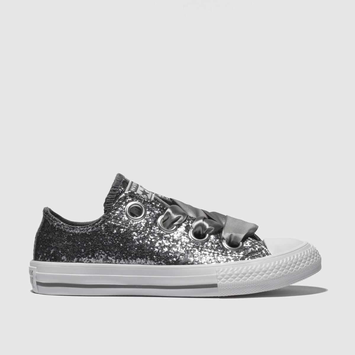 Converse Silver All Star Big Eyelets Lo Trainers Junior