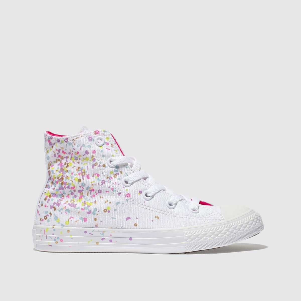 Converse White & Pink All Star Hi Girls Junior Trainers