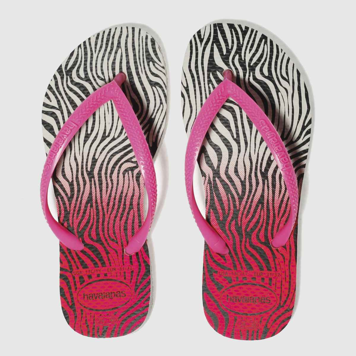 Havaianas White & Pink Slim Animal Girls Junior Junior