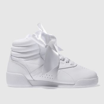 Reebok White Freestyle Hi Bow Girls Junior